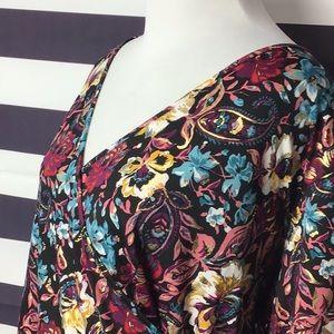 Chenault Wrap V Neck Metallic Foil Floral Blouse